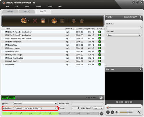 ImTOO Audio Converter Pro - Destination
