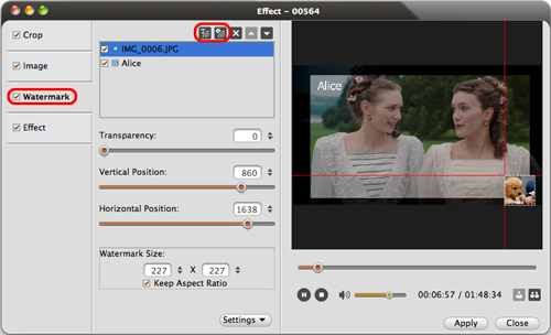 ImTOO Blu Ray Converter for Mac Guide - Add watermark