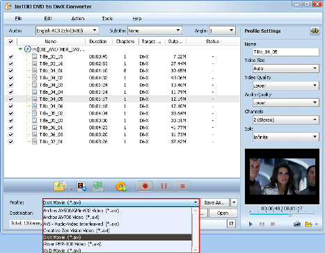 ImTOO DVD to DivX Converter Guide - Output format