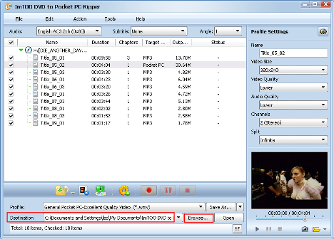 ImTOO DVD to Pocket PC Converter Guide - Set output folder