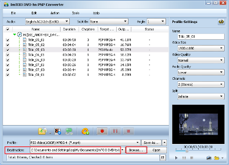 ImTOO DVD to PSP Converter Guide - Set output folder