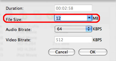 ImTOO HD Video Converter for Mac - bitrate calculator