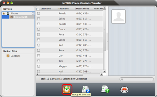 ImTOO iPhone Contacts Transfer for Mac Guide - Backup to Mac