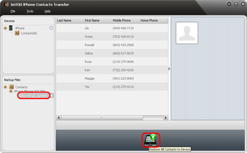 ImTOO iPhone Contacts Transfer - Restore